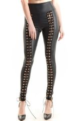 Women's Lace Up Front Faux Leather Leggings