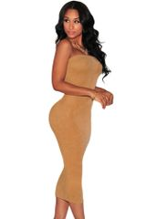 Suede Body-con Midi Dress with Elastic Top Band