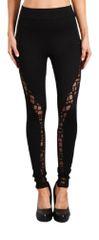 Black High Waisted Leggings with Geometric Printed Mesh Panels