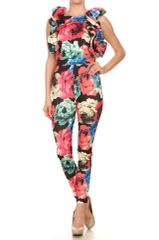 Multicolored Floral Printed Ruffle Sleeve Jumpsuit
