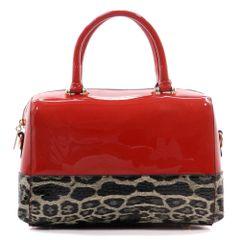 Patent Faux Leather Leopard Print Colorblock Boston Bag