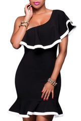 Black Off The Shoulder Dress with White Trim