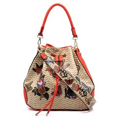 Bee and Butterfly Flower Printed Shoulder Bag with Strap