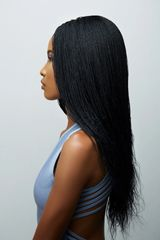 Women's Hand Braided Micro Twist Lace Front Wig (1b)