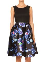 Women's Sleeveless Fit and Flare Pleated Dress