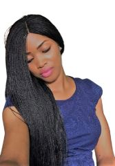 Women's Hand Braided Micro Twist Lace Front Wig,(30 Inches, 1/Black)