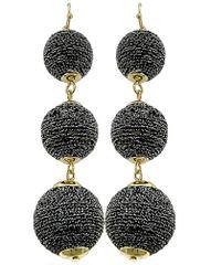 Hematite Thread Ball Dangle Earring Set