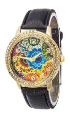 Flower Print Crystal Bezel Watch