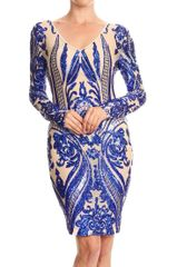 Long Sleeve V Neck Body con Sequins Dress