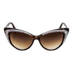 Brown Crystal Ornate Cat Eye Sunglasses