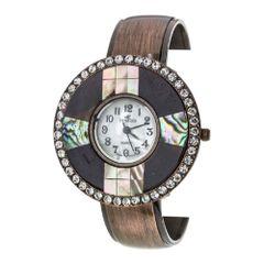 Pave Shell Bezel Fashion Bangle Watch