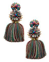 Multicolored Thread & Glass Tassel Dangle Earring Set