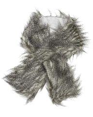 Grey Shaggy Faux Fur Pull Thru Muffler