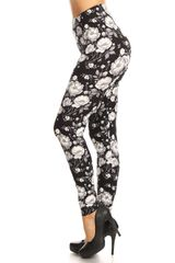 Ultra Soft Black and White Floral Printed Leggings