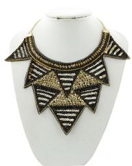 Women's Black and Gold Sequin Statement Necklace