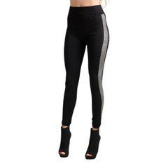 Women's Silver Metallic Side Line Leggings