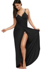 Women's Black Jersey Cover up Slinky Maxi Dress