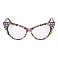 Multi Color Austrian Crystal Cat Eye Optical Glasses
