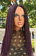 Handmade Micro Twist Braided Wig Color Purple, 26 Inches
