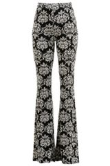 Damask Print Brushed Knit Bell Bottom Pants Sizes S-XL