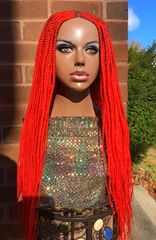 Cornrow Box Braided Wig Color Red, 30 Inches