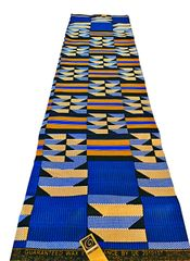 Ankara Print Fabric 6 Yards, Color Blue Kente Style
