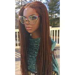 Layered Cornrow Box Braided Wig, with Baby Hair, Color 35/33 Mix 30 Inches