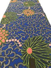 African Ankara Print Fabric 6 Yards Blue Floral