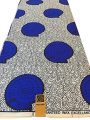 Ankara Print Fabric 6 Yards Blue and White