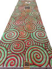 African Ankara Print Fabric 6 Yards Red and Green Swirl
