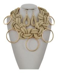 Gold Tone Metallic Fabric Statement Necklace & Earring Set
