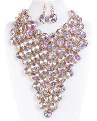Multi Strand Statement Choker Necklace Set