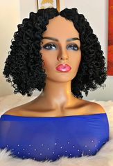 Handmade Micro twist Wig Curly Bob Color 1 Black