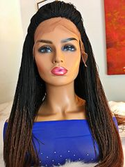 Handmade Micro Twist Frontal Ombre Wig Color 1b/30, 33 Inches