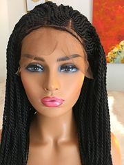 Cornrow and Medium Twist Braided Wig Color 1, 26 Inches