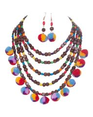 Multi Color Thread Wood Multi Strand Statement Necklace Set