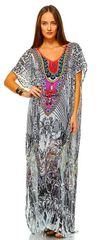 White and Multi Color Embellished Kaftan Maxi Dress
