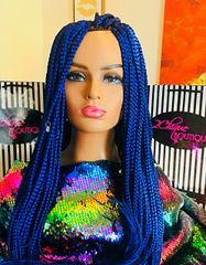 Box Braid Wig With Baby Hair and 4 x 4 Closure Color Blue, 33 Inches