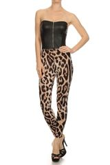 Leopard Print Strapless Full Length Jumpsuit