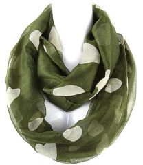 Multiple Hearts Infinity Scarf, Green