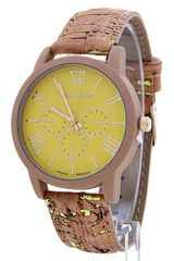 Cork Band Fashion Chrono Watch, Yellow