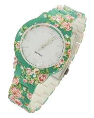 Floral Print Acrylic Band Watch