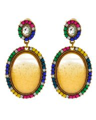 Multicolored Oval Dangle Earring Set