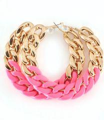 2Tone Chain Hoop Earrings