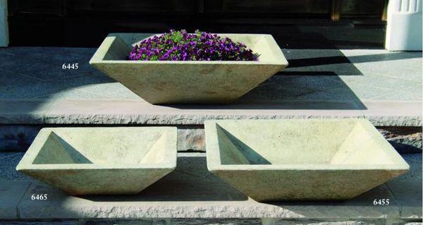 Square Low Bowl Planter Set Cast Stone International