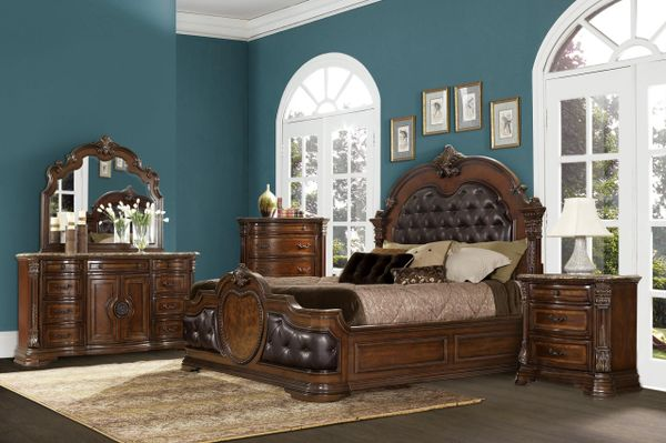 Old World European Style 5 Piece Bedroom Set from the Antoinetta Collection  (KRXE1919)