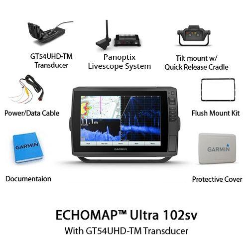Garmin ECHOMAP Ultra 102SV & Panoptix Livescope System With Worldwide Basemap