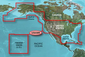 Garmin Bluechart G2 Hawaiian Islands, USA & Western Canada Chart on microSD/SD - HXUS039R