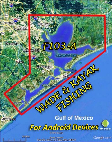 F103-A Galveston Bay Wade & Kayak Fishing Online Map App