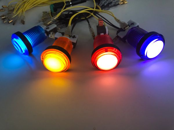 Set of 4 Green Led Arcade Button Suzo Happ Cherry 75g Microswitch